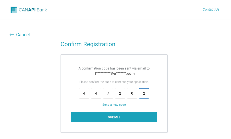 Confirm Registration page